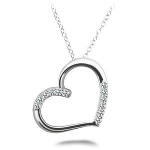 3 Ct Sparkling round cut diamonds HEART pendant ne